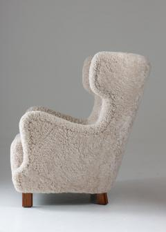 Danish Mid century Lounge Chair in Sheepskin 1940s - 1620288