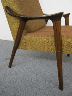 Danish Modern Scoop Arm Walnut Lounge Chair with Adjustable Ottoman - 1877308