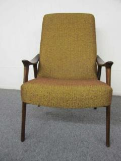Danish Modern Scoop Arm Walnut Lounge Chair with Adjustable Ottoman - 1877316