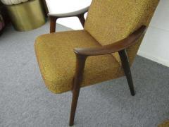 Danish Modern Scoop Arm Walnut Lounge Chair with Adjustable Ottoman - 1877317