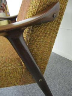 Danish Modern Scoop Arm Walnut Lounge Chair with Adjustable Ottoman - 1877318