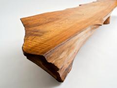 Danish Nine Foot Axe Hewn Freeform Low Table Bench in Elm 1950s - 332736