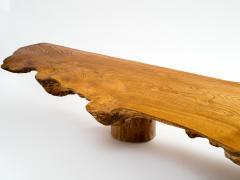 Danish Nine Foot Axe Hewn Freeform Low Table Bench in Elm 1950s - 332737