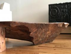 Danish Nine Foot Axe Hewn Freeform Low Table Bench in Elm 1950s - 332740