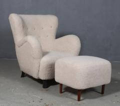 Danish furniture manufacturer Armchair with stool 2  - 2127177