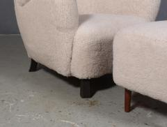 Danish furniture manufacturer Armchair with stool 2  - 2127195