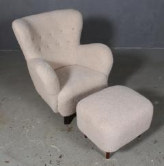 Danish furniture manufacturer Armchair with stool 2  - 2127225