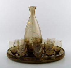 Daum Nancy Art Deco bar set decanter and 11 glasses on tray - 1330596