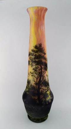 Daum Nancy Colossal floor vase Paysage soleil couchant Landscape with sunset  - 1322019