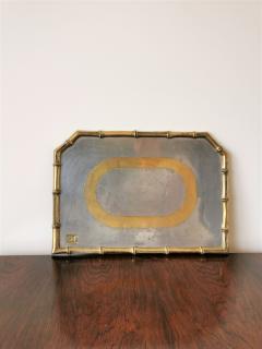 David Marshall Rare Cast Aluminum and Brass Brutalist Tray by David Marshall Spain 1970s - 1249815