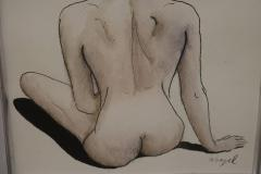 David Segel Female Nude Back Ink and Watercolor Drawing by David Segel - 435631