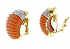David Webb Coral and Diamond Earrings - 525642