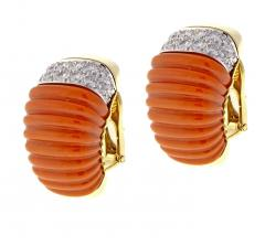 David Webb Coral and Diamond Earrings - 525643