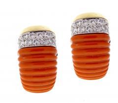 David Webb Coral and Diamond Earrings - 525645