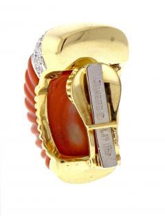 David Webb Coral and Diamond Earrings - 525647