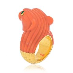 David Webb DAVID WEBB 18K TWO TONE SOLID FLUTED CORAL PANTHERE LION RING - 2029540