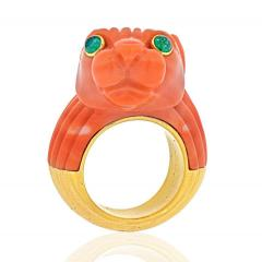 David Webb DAVID WEBB 18K TWO TONE SOLID FLUTED CORAL PANTHERE LION RING - 2029541