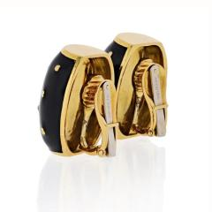 David Webb DAVID WEBB 18K YELLOW GOLD BLACK ENAMEL GOLD SPOTTED EARRINGS - 1796929