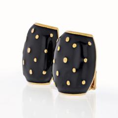 David Webb DAVID WEBB 18K YELLOW GOLD BLACK ENAMEL GOLD SPOTTED EARRINGS - 1796930
