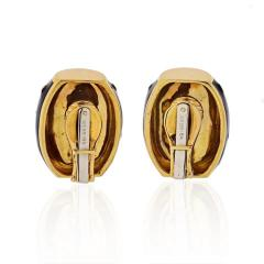 David Webb DAVID WEBB 18K YELLOW GOLD BLACK ENAMEL GOLD SPOTTED EARRINGS - 1796931