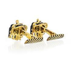 David Webb DAVID WEBB 18K YELLOW GOLD BULLS BLACK ENAMEL VINTAGE CUFF LINKS - 1840460