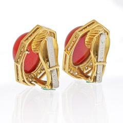 David Webb DAVID WEBB 18K YELLOW GOLD CABOCHON CUT CARNELIAN EARRINGS - 2039425