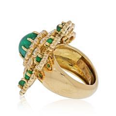 David Webb DAVID WEBB 18K YELLOW GOLD CABOCHON EMERALD DIAMOND FLOWER RING - 2029523
