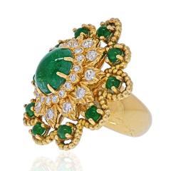David Webb DAVID WEBB 18K YELLOW GOLD CABOCHON EMERALD DIAMOND FLOWER RING - 2029524