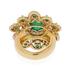 David Webb DAVID WEBB 18K YELLOW GOLD CABOCHON EMERALD DIAMOND FLOWER RING - 2029525