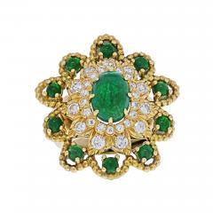 David Webb DAVID WEBB 18K YELLOW GOLD CABOCHON EMERALD DIAMOND FLOWER RING - 2030178
