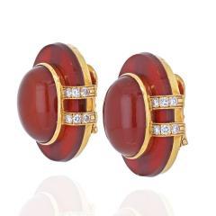 David Webb DAVID WEBB 18K YELLOW GOLD CARNELIAN AND DIAMOND CLIP EARRINGS - 2048812