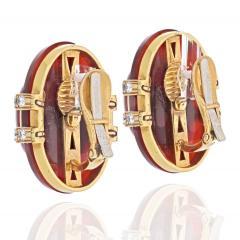 David Webb DAVID WEBB 18K YELLOW GOLD CARNELIAN AND DIAMOND CLIP EARRINGS - 2048814