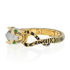 David Webb DAVID WEBB 18K YELLOW GOLD DIAMOND AND BLACK ENAMEL TIGER BRACELET - 2029542