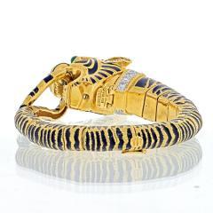 David Webb DAVID WEBB 18K YELLOW GOLD DIAMOND AND BLACK ENAMEL TIGER BRACELET - 2029544