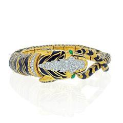 David Webb DAVID WEBB 18K YELLOW GOLD DIAMOND AND BLACK ENAMEL TIGER BRACELET - 2029545