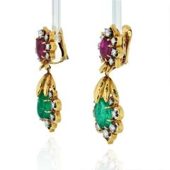 David Webb DAVID WEBB 18K YELLOW GOLD DIAMOND EMERALD RUBY EARRINGS - 1796936