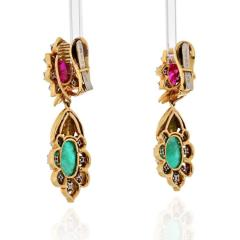 David Webb DAVID WEBB 18K YELLOW GOLD DIAMOND EMERALD RUBY EARRINGS - 1796937