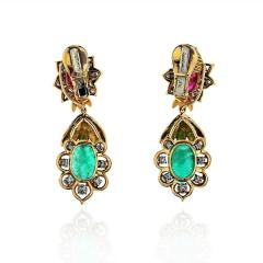 David Webb DAVID WEBB 18K YELLOW GOLD DIAMOND EMERALD RUBY EARRINGS - 1796938