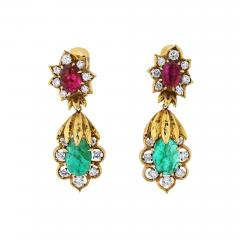 David Webb DAVID WEBB 18K YELLOW GOLD DIAMOND EMERALD RUBY EARRINGS - 1798608