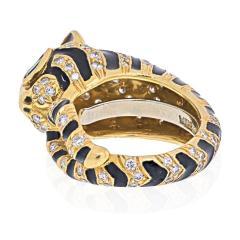 David Webb DAVID WEBB 18K YELLOW GOLD DIAMONDS EMERALDS BLACK ENAMEL TIGER RING - 1932143