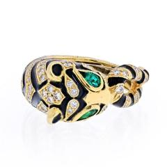 David Webb DAVID WEBB 18K YELLOW GOLD DIAMONDS EMERALDS BLACK ENAMEL TIGER RING - 1932144