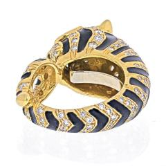 David Webb DAVID WEBB 18K YELLOW GOLD DIAMONDS EMERALDS BLACK ENAMEL TIGER RING - 1932145