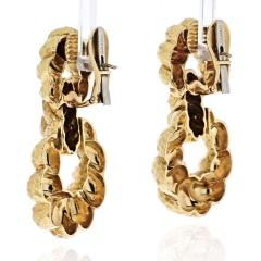 David Webb DAVID WEBB 18K YELLOW GOLD HAMMERED HOOP PIERCED EARRINGS - 1932106