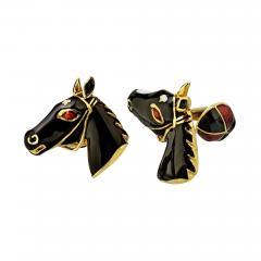David Webb DAVID WEBB 18K YELLOW GOLD HORSE AND JOCKEY CAP CUFF LINKS - 1788327