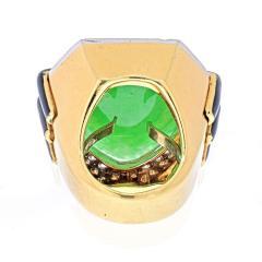 David Webb DAVID WEBB 18K YELLOW GOLD JADE DIAMOND BLACK ENAMEL STATEMENT RING - 1941072