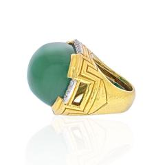 David Webb DAVID WEBB 18K YELLOW GOLD LARGE GREEN CHALCEDONY RING - 2029561