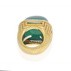 David Webb DAVID WEBB 18K YELLOW GOLD LARGE GREEN CHALCEDONY RING - 2029563