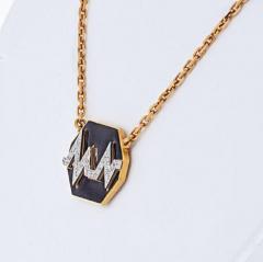David Webb DAVID WEBB 18K YELLOW GOLD SKIP BLACK ENAMEL DIAMOND PENDANT - 1963040
