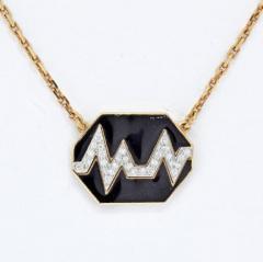 David Webb DAVID WEBB 18K YELLOW GOLD SKIP BLACK ENAMEL DIAMOND PENDANT - 1963041