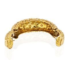 David Webb DAVID WEBB 1970S 18K YELLOW GOLD CHECKERBOARD TAPERED CUFF BRACELET - 1786267